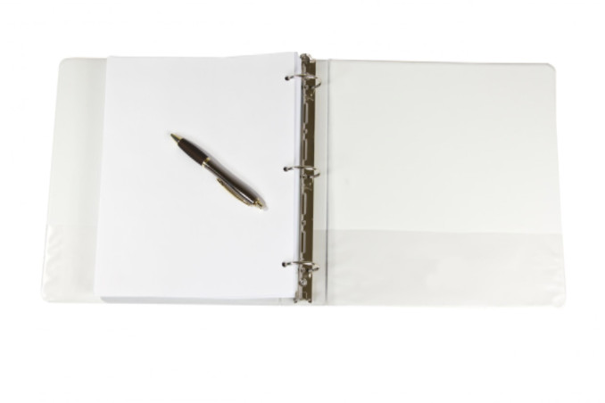 Three ring binder with pen and paper: SBDPro Business Articles